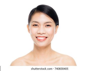 Beautiful woman face close up portrait studio on white background