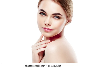 Beautiful woman face close up studio on white with hands on face manicure fingers