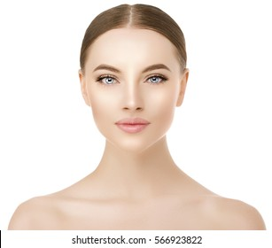 Beautiful woman face close up studio on white. Beauty spa model female with clean fresh skin closeup, perfect, youth fresh skin care concept. Portrait of girl looking at camera, smiling. Cosmetology.