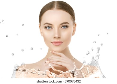 Beautiful woman face close up studio water splash. Beauty spa model female with clean skin closeup, with perfect skin. Youth fresh skin care concept. Portrait of girl, smiling. Cosmetology.