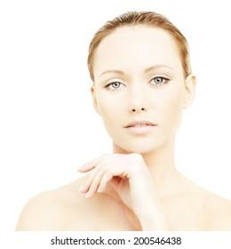 Beautiful woman, face close-up
