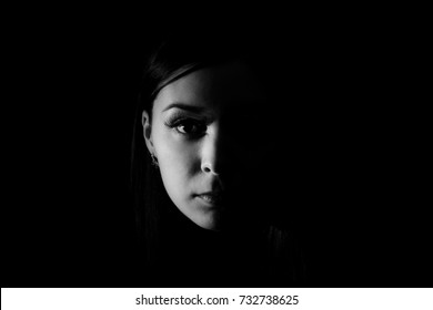 Beautiful woman face in the darkness