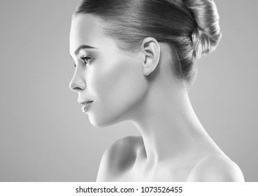 Beautiful woman face headshot skin care close up black and white monochrome