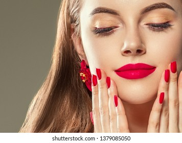 Beautiful woman face healthy skin makeup