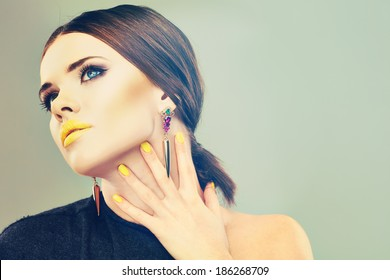 Beautiful woman face. Isolated beauty portrait.