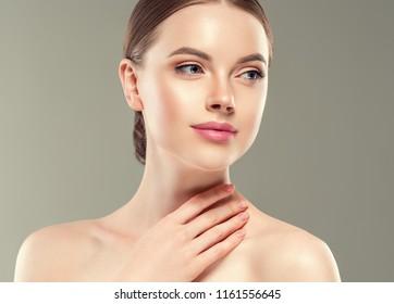 Beautiful woman face lips closeup healthy skin beauty model girl
