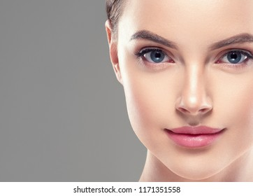 Beautiful woman face lips nose closeup beauty skin care concept