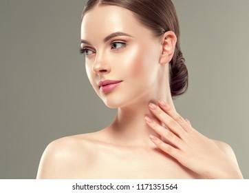 Beautiful woman face lips nose closeup beauty skin care concept