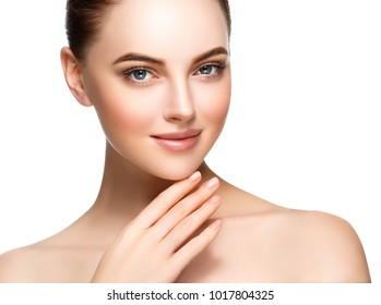 Beautiful woman face with make up and beauty healthy skin and hair portrait. Studio shot.