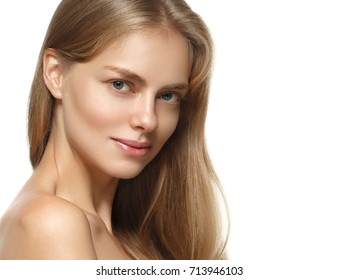 Beautiful woman face with make up and beauty healthy skin and hair portrait