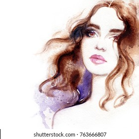 beautiful woman face. makeup. fashion illustration. watercolor painting