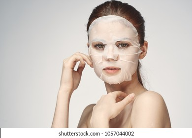 beautiful woman in a face mask, anti-wrinkle