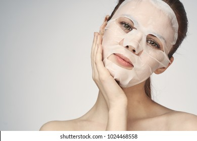 beautiful woman in a face mask, clean skin, healthy appearance