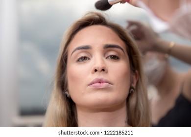Beautiful woman face. Perfect makeup. Makeup detail.