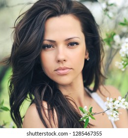 Beautiful woman face with perfect skin