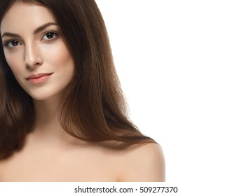 Beautiful Woman Face Portrait Beauty Skin Care Concept. Fashion Beauty Model isolated on white