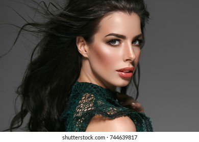 Beautiful Woman Face Portrait Beauty Skin Care Concept Beautiful beauty young female model girl over gray background