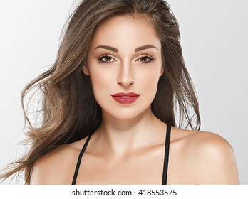 Beautiful woman face portrait close up isolated on white