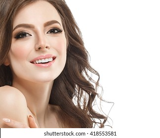 Beautiful woman face portrait close up  with curly hair isolated on white