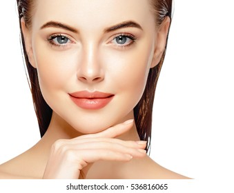 Beautiful woman face portrait cosmetic healthy concept