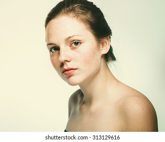 beautiful woman face portrait young