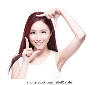 Beautiful Woman face and she making frame with hands with health skin, concept for skin care , asian beauty