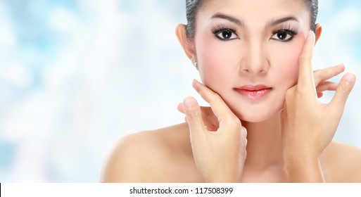 Beautiful woman face with smile for skincare, cosmetic, beauty hygiene, makeup, moisturize