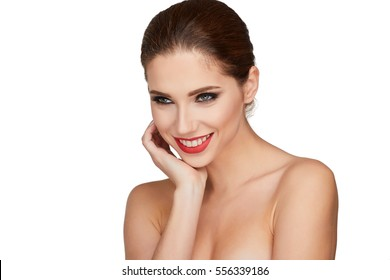 Beautiful woman face studio on white with sexy lips close-up