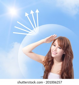 Beautiful woman face with sunshine and blue sky, concept for skin care and sun block, asian beauty