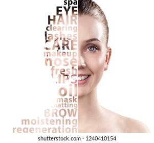 Beautiful woman face with tag beauty words. Beauty skincare concept.