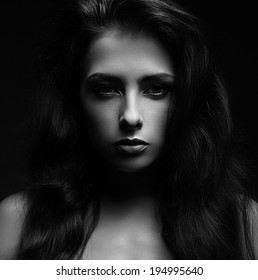 Beautiful woman face. Vogue portrait. Black and white