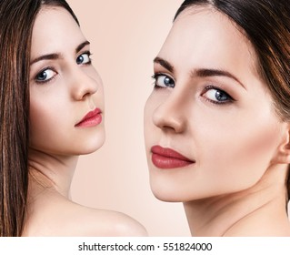 Beautiful woman faces. Spa concept.