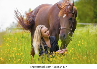Beautiful woman feeding her arabian horse with snacks in the field