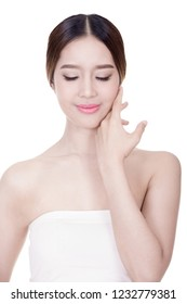 Beautiful woman female skin care healthy hair and skin close up face beauty portrait.