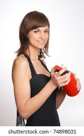 beautiful woman with the fire extinguisher