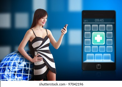 Beautiful woman and First Aid icon on mobile phone : Elements of this image furnished by NASA