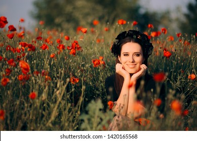 Beautiful Woman with Flower Crown in a Field of Poppies. Princess sitting in nature in a wildflower lovely scenery