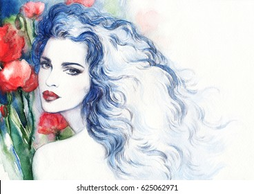 Beautiful woman with flowers. Fashion illustration. Watercolor painting