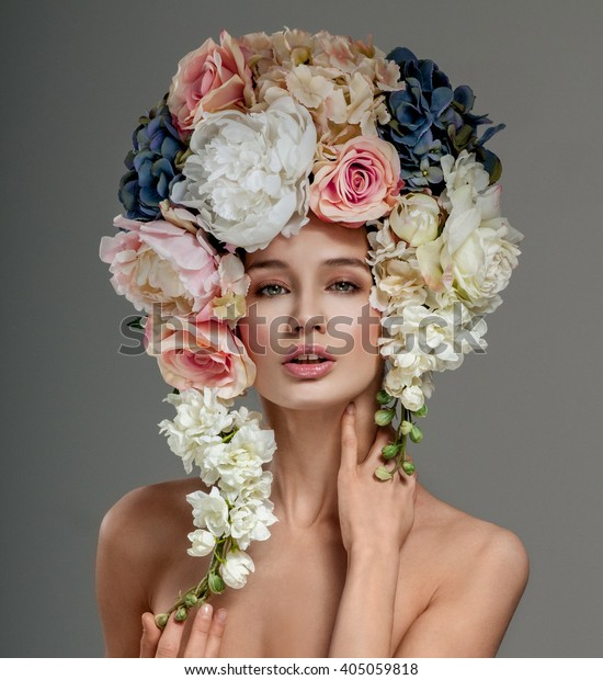 Beautiful Woman Flowers Her Hair Bouquet Stock Photo (Edit ...