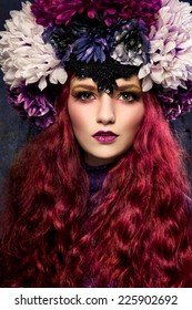 Beautiful woman with flowery headpiece