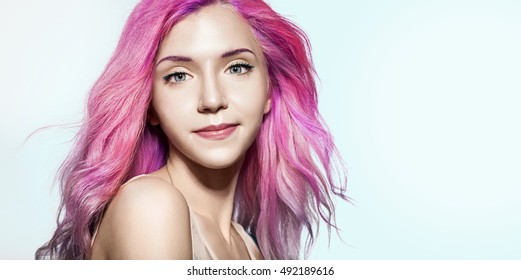 Beautiful Woman Fluttering Hair Color Pink Stock Photo Edit Now