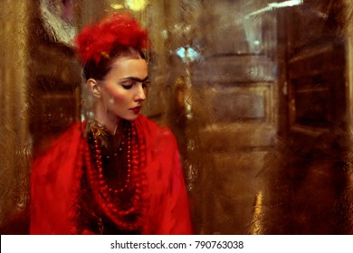 Beautiful woman as Frida Kahlo