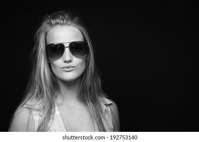 Beautiful woman in front of a white background