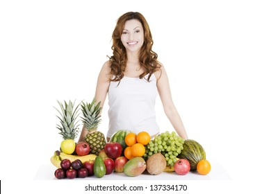 Beautiful woman with fruits, isolated on white