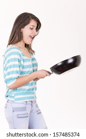 beautiful woman with frying pan  isolated on white background