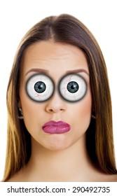 Beautiful woman with funny cartoon eyes.