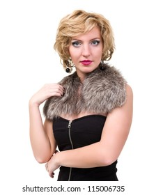 beautiful woman with fur posing against isolated white background
