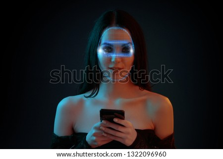 Beautiful woman in futuristic 3d glasses with virtual projection. Girl in glasses of virtual reality. Biometric verification. Face ID. Face recognition. Recognition technology on a polygonal mesh.