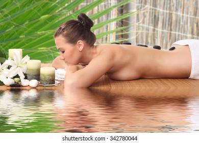 Beautiful woman getting spa , spa salon