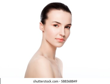Beautiful woman girl natural makeup spa skin care portrait on white background